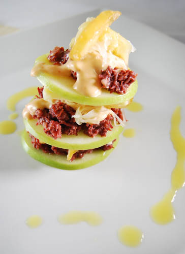 Rosti and Apple Stack Corned Beef with Apple Vinaigrette Dressing