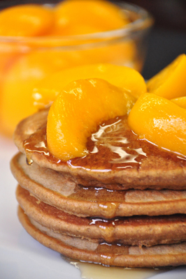 Whole Wheat Pancake with Peach Topping