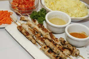 beef kebab with basmati rice