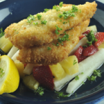 Herbed crusted fish with Jicama (singkamas) salad mix