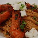 Greek recipe:  Garides Saganaki Pasta