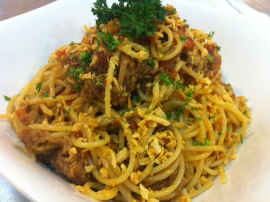 Pasta al adobo pinoy food recipes while abroad he was asked about the philippines most popular dish of course he said adobo when he came back he innovated this pasta recipe forumfinder Image collections