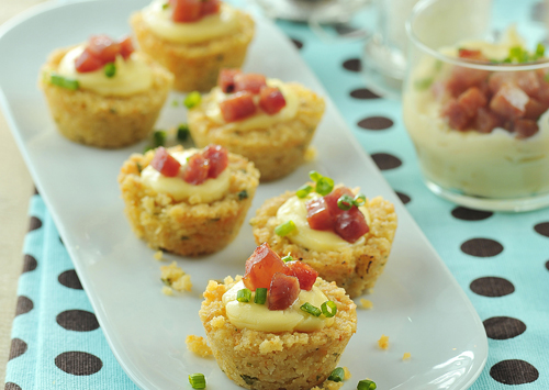 Blinis shrimp torte canap s and cheesecake crunch bites for Canape cup fillings