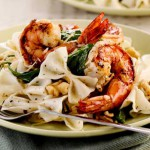 Grilled Prawns in Herbed Arugula Pasta