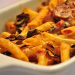 Baked Penne with Eggplant and Sausage