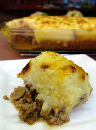 Shepherd's Pie, a dish of ground meat topped with mashed potato