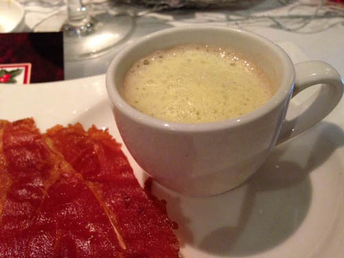 Espresso of Chestnut soup Anchor Maple Foam and Ham Flakes