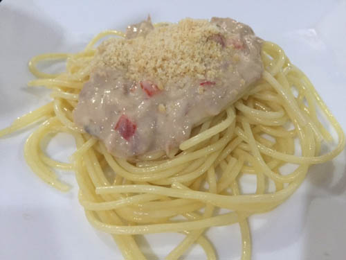 Tuna Royale Carbonara using Clara Ole 's Carbonara pasta sauce #ClaraOlePotluck