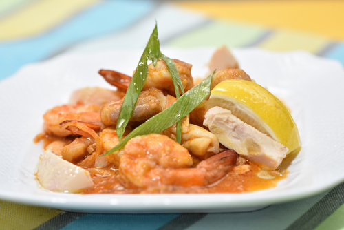 Pateros Express: mixed sautéed seafood in salted egg sauce.